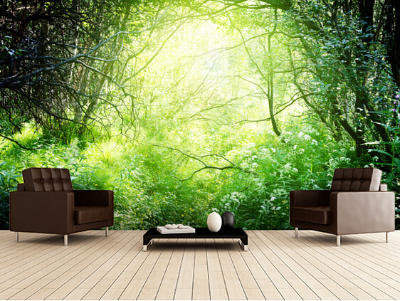 Custom natural wallpaper deep forest light 3d wallpaper for Nature wallpaper for bedroom