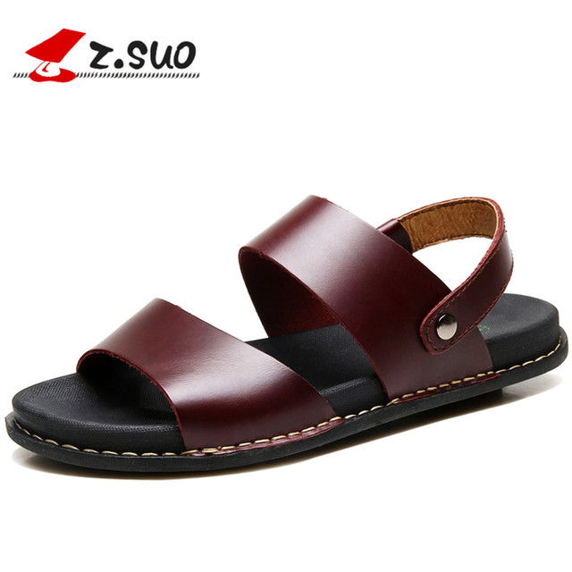 bede7a8bb833 Z. Suo Men Leather Sandals Slippers 2018 Summer Leisure Fashion Beach Shoes  Flat Slides Flip Flops Non-slip Male Footwear 16515