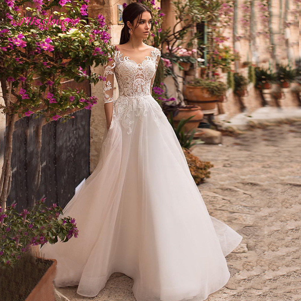Robe De Mariee 2019 New Luxyry Vintage Lace Bride Wedding