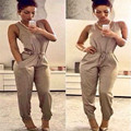 New Fashion Sexy Lady O-neck Sleeveless High Waist Drawstring Jumpsuit Solid Pocket Long Jumpsuit