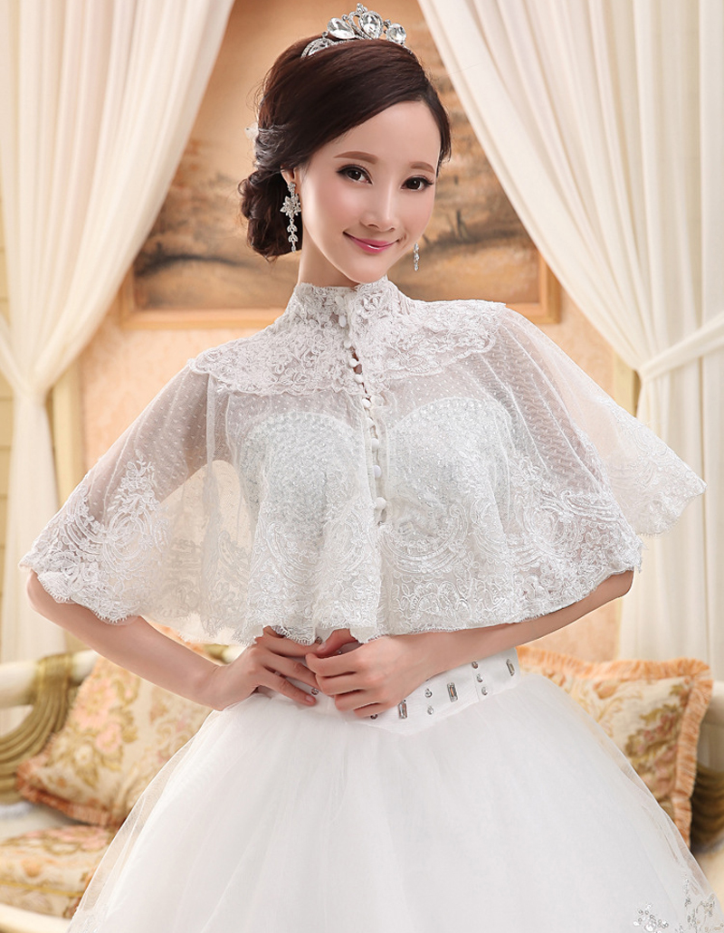In Stock Beige Ivory Lace Bridal Boleros Thin Stand Collar Women Ladies Wedding Jackets Plus Size Wraps For Wedding Accessories