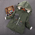 Fashion Parkas boy plus velvet wadded jacket autumn and Winter Children Outerwear Coat Baby boys Cotton-padded Jacket Age 3-14T