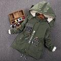 Moda Parkas menino além de veludo amassado revestimento do outono e Inverno Crianças Outerwear meninos Casaco de Bebê de Algodão-acolchoado Jaqueta de Idade 3-14 T