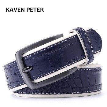 Cinturones de piel sintética de cocodrilo para hombre, diseño de cocodrilo, cinturón de diseñador, negro, marrón oscuro, azul oscuro, gris, amarillo, marrón, a elegir