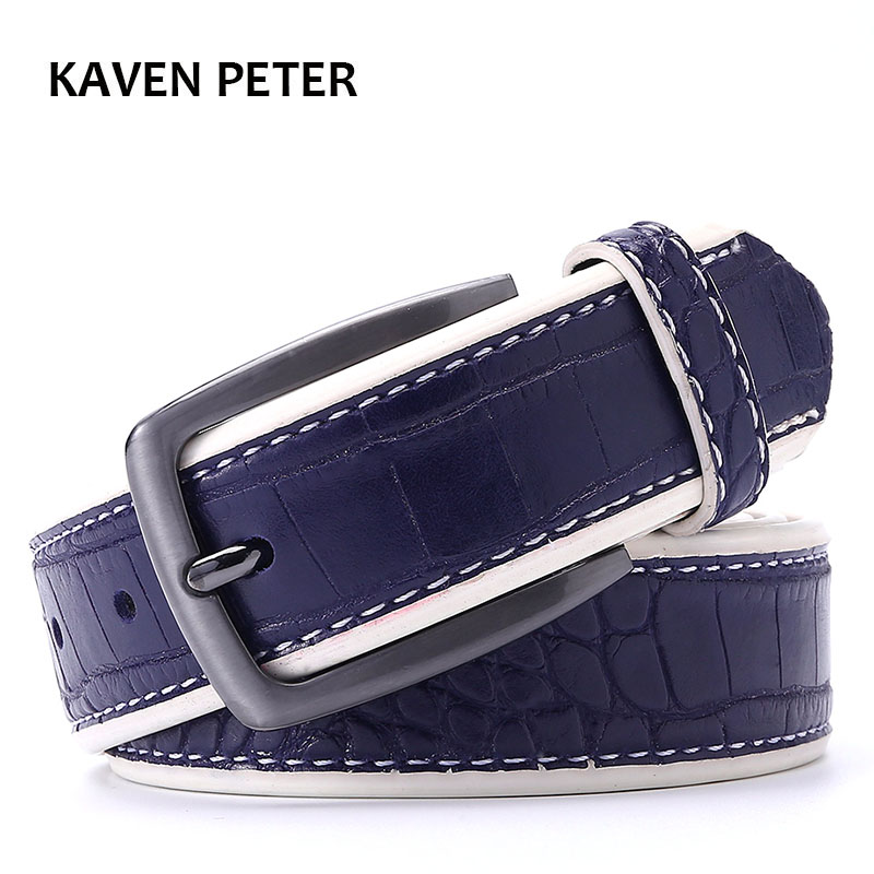 Men PU Crocodile Belts Faux Leather Alligator Pattern Designer Belt Black Dark Brown Dark Blue Grey Yellow Brown Color To Choose
