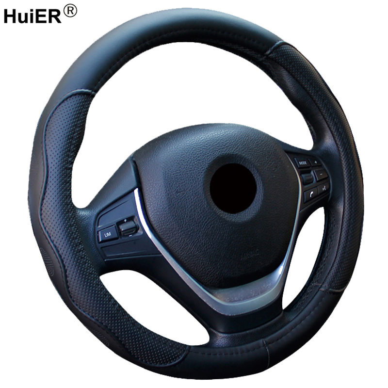 HuiER Auto Car Steering-wheel Cover High Steering Cover 5 Colors Anti-slip For 38CM/15 Steering Wheel Car Styling Free Shipping free shipping car styling sew on genuine leather car steering wheel cover car accessories for 2015 2016 new ford mustang