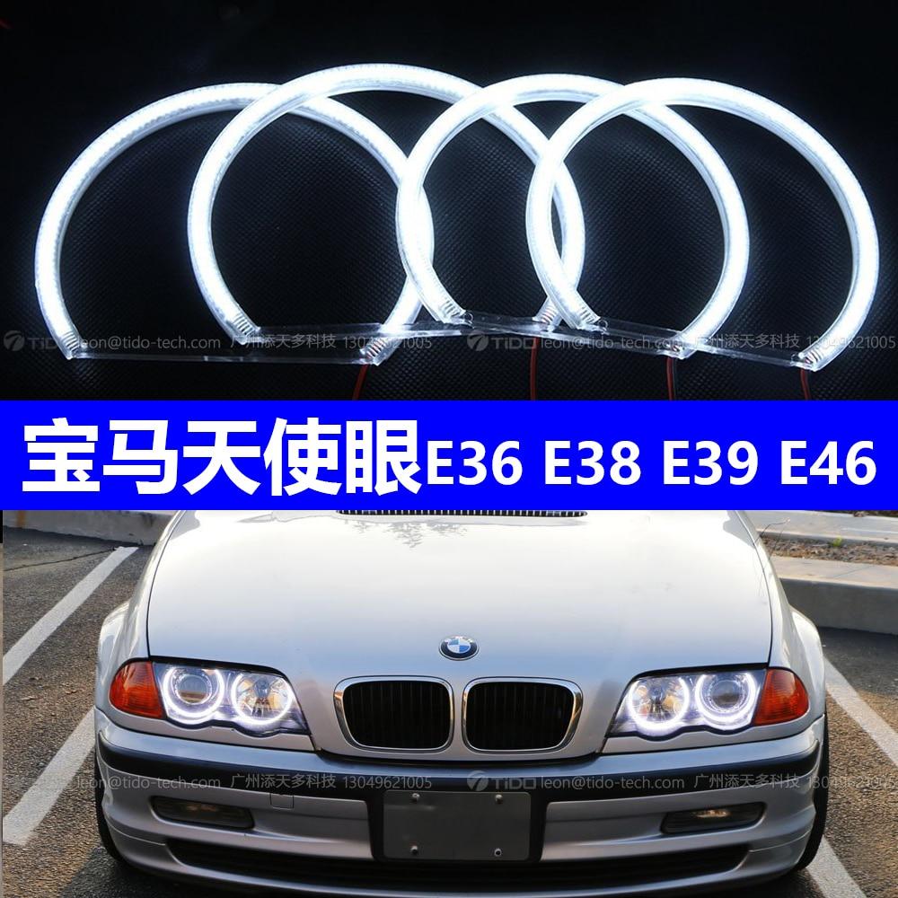 CCFL ערכת עיני מלאך לבן Halo טבעת 131mm * 4 עבור BMW E36 E38 E39 E46 (עם מקורי מקרן)אביזרי תאורה לרכב   -