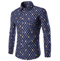 2016  Spring and Autumn new men's casual plaid long-sleeved shirt simple fashion Brand Men men's Slim Fit shirt  tops