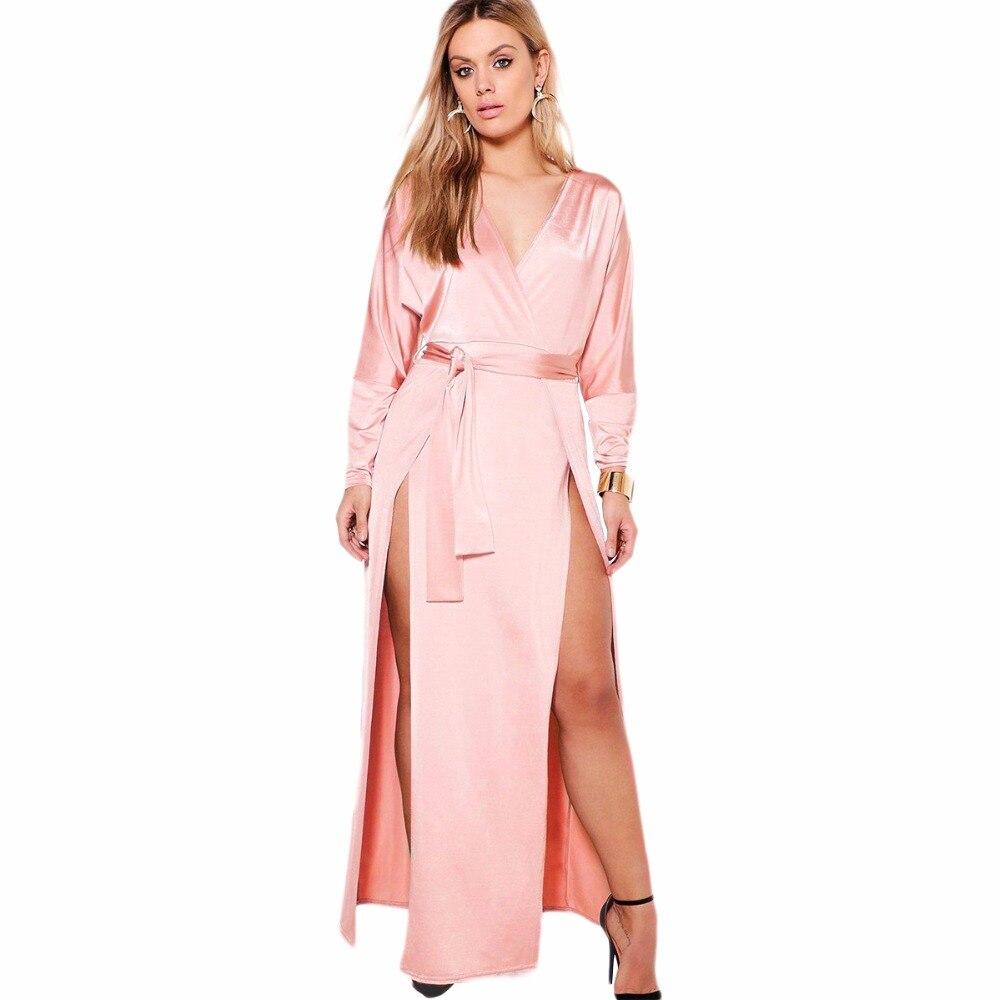 0c94a1ba8e46cc Plus size zwart roze lange mouwen dubbele spleet wrap maxi jurken voor  vrouwen dames oversized elegante sexy hoge taille party jurken in Plus size  zwart ...