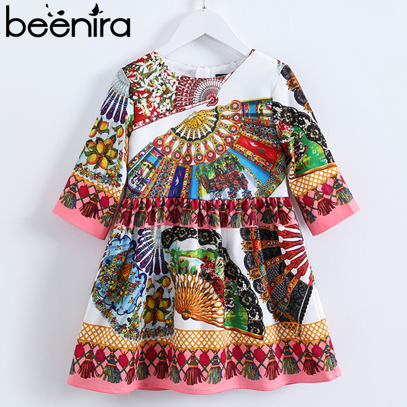 Beenira Children Spring Dress 2018 European And American Style Kids Fan Pattern Printed Clothes Dress Design 4-14Y Girls Dress ornate printed pocket design dress