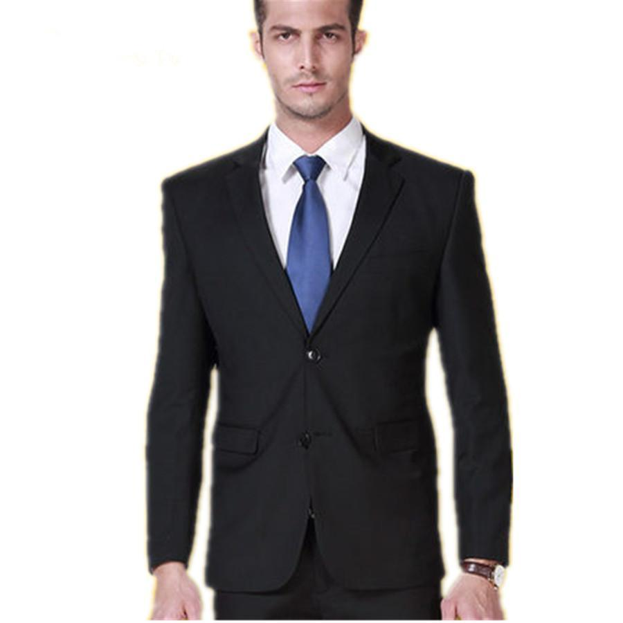 Customized 2018 New Leisure Custom Fit Tuxedo Black Suit Fashion Business Dress Wedding Suits Bridegroom Jacket Pants In From Men S Clothing