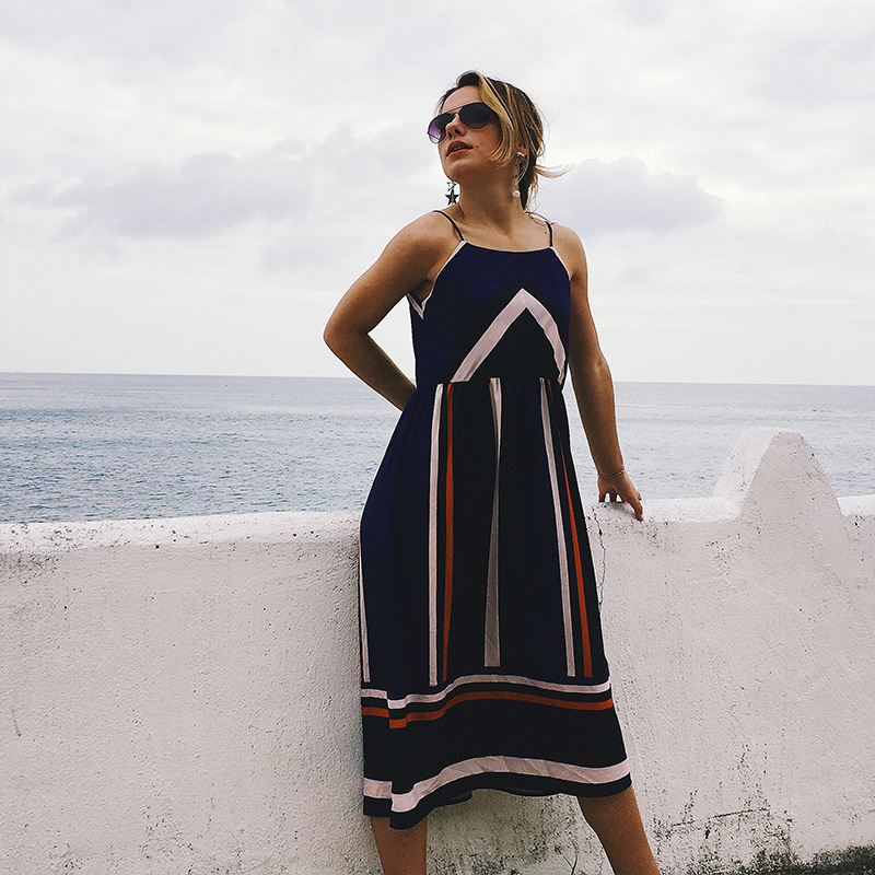 Sexy Chiffon Maternity Dress Striped Style Pregnancy Slip Dresses Beach Summer Holiday Pregnant Women Backless Clothes S M L XXL in Dresses from Mother Kids
