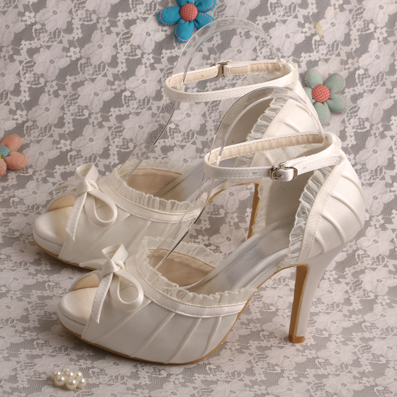 Wedopus Open Toe Wedding Bridal Shoes Sandals Ivory Satin High Heels Dropship 2016 spring and summer free shipping red new fashion design shoes african women print rt 3