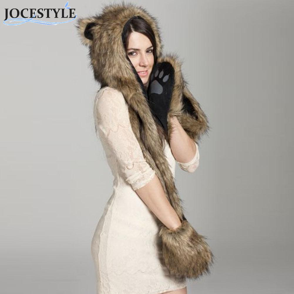 Warm Animal Fur Scarf With Fluffy Plush Cap Ear Hood Shawl Gloves Hat With Ears Winter Faux Animal Fur Collar Natural Scarf Lady