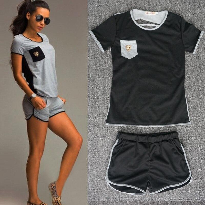 9231# 2019 Sexy Women Short Sleeve T-shirt Top Sportwear Shorts Pants Tracksuit Outfit Clothes Sets Jumpsuit Summer Women Suit