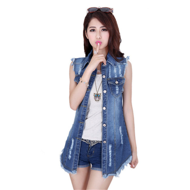 2016 Summer  Women Denim Tassel Vest Gilet  Long Waistcoat Loose Blue Jean Vest  Plus Size women