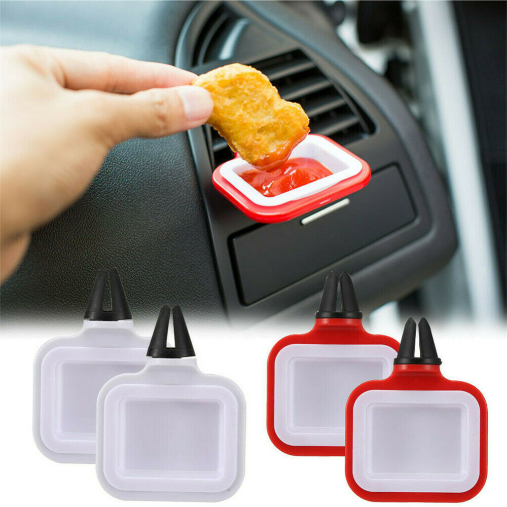 2PCS ABS Portable Car Sauce Holder Auto Sauce Dip Clip Sauce Holder For Ketchup And Dipping Sauces