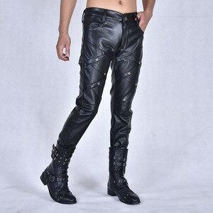 Image 4 - Nouvelle arrivla mode décontracté discothèque Costumes danse Hip hop Rock cuir pantalon loisirs hommes grande taille 27 28 29 30 31 32 33 36