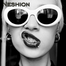 idol Fashion Goose Egg Women Sunglasses Hiphop Rapper Show Oval Goggle Black White Outdoor Street Night Club Style Punk Glasses
