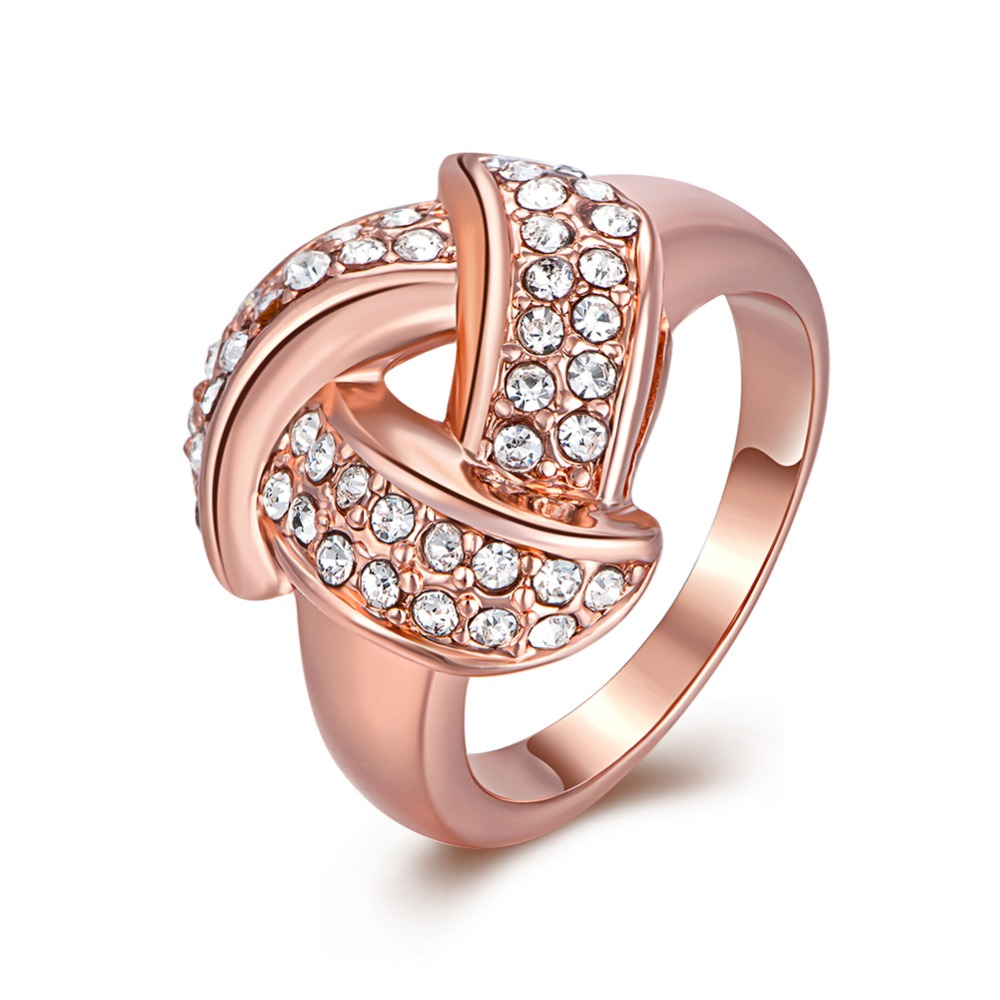 INALIS Weave Shaped Round Cut Clear CZ Rose Gold colour Simulated zircon Pave Rings Marca Jewelry for Women Hot Anillos