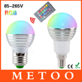 E14 E27 светодиодная лампа прожектор 3 Вт 85 - 265 В 110 В 220 В разноцветная RGB лампочка хрустальная люстра Lustre Lanterna светодиоды + 24 кнопок пульта дистанционного управления