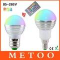 E14 E27 Led Spotlight 3 W 85-265 V 110 V 220 V RGB de Colores Bombilla Chandelier Lustre Lanterna Llevó la Luz + 24 Teclas Del Controlador Remoto