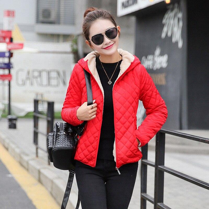 2019 New Winter   Parkas   basic jackets Female Women plus velvet lamb hooded Coats Cotton Winter Jacket Women Outerwear coat