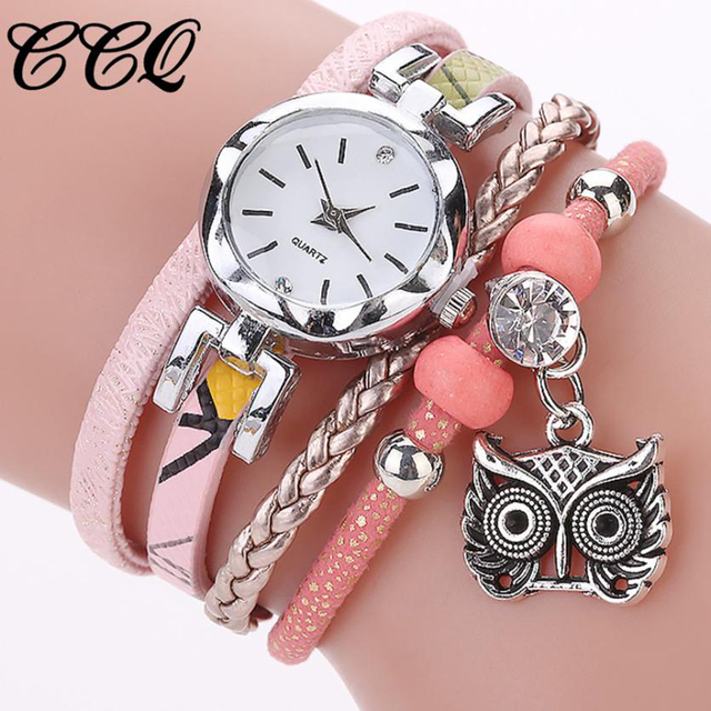 CCQ NEW Fashion Women Watch Girls Quartz Owl Pendant Ladies Dress Bracelet Watch