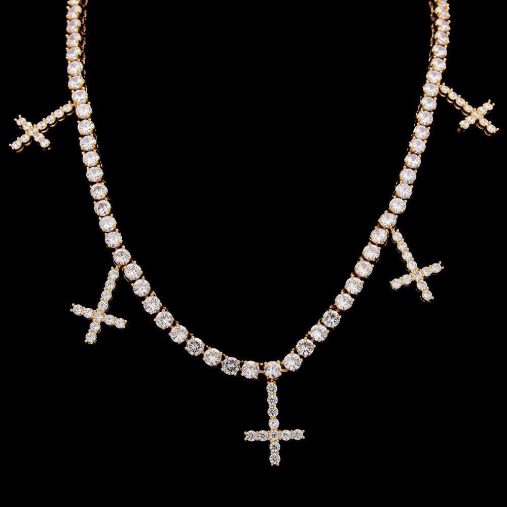 Pendentif croix glacé avec 1 rangée 5 MM WidthTennis chaîne Bling cubique zircone or argent collier pour femmes hommes Hip hop bijoux