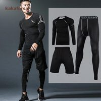 Kakaforsa 3pcs Men gym Fitness clothing sportswear male gym running sets basketball jerseys training suit compression kits