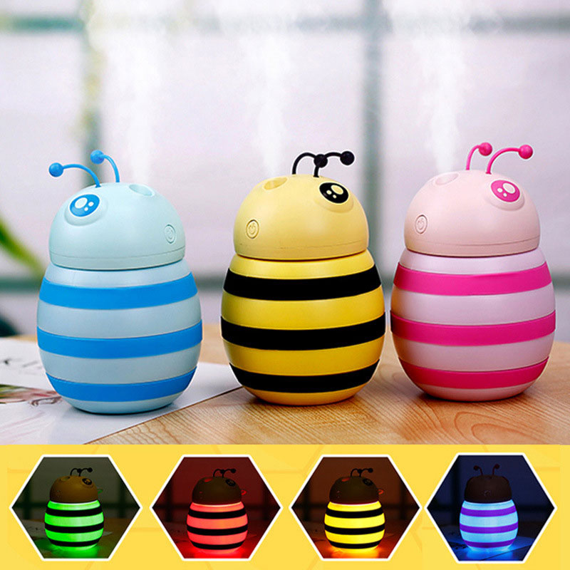 Littie Bee Aromatherapy Diffuser Night Light Air Purifier Portable Baby Room Humidifier Multi-Function Desktop Dorpshipping