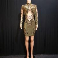 Мигающая Золотая платье со стразами День рождения праздничный наряд для ночного клуба DS джаз женский для пения, танцев и шоу наряд платье