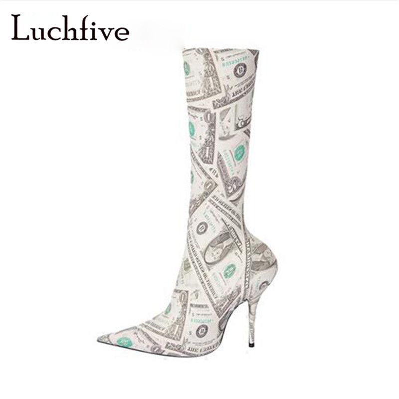 Fashion pointed toe women booties sexy thin high heels ladies shoes slip on stiletto ankle boots women white sock female shoesFashion pointed toe women booties sexy thin high heels ladies shoes slip on stiletto ankle boots women white sock female shoes