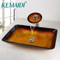 KEMAIDI Rectangle Washroom Basin Vessel Vanity Sink Bathroom Mixer Basin Washbasin Brass Faucet Set W Drain