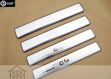 stainless steel door sill for Citroen C4L strip stainless steel Threshold strip welcome pedal body protector exterior decoration