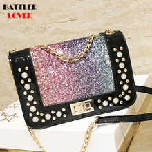 pearl crossbody bags for women 2019 summer candy colored luxury