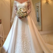 kissbridal Wedding Dress A-line Long Sleeve Bride Dresses