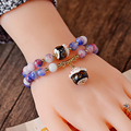 2016 newest Colorful natural stone bracelet women Korean fashion jewelry Double layer ceramics pendant Lucky Cat bracelet female