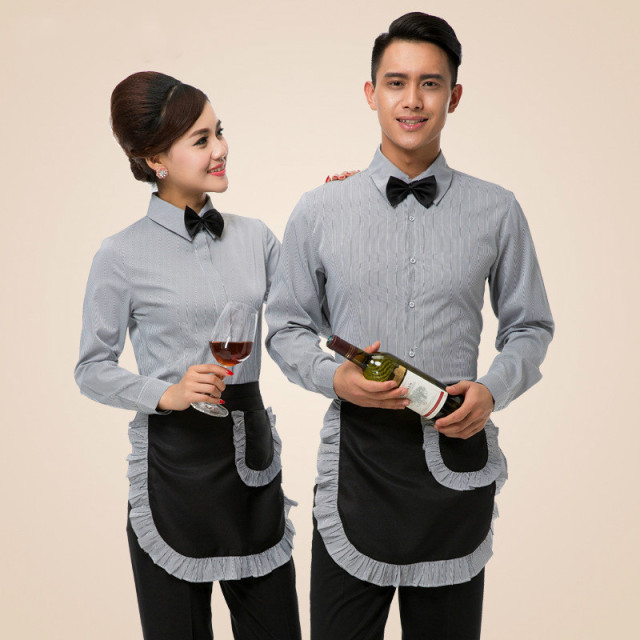 grey green men restaurant waiter uniform catering waitress uniform