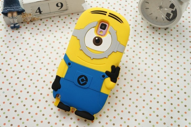 Minion Camera Case : 3d minion case for samsung note 3 cover despicable me soft rubber