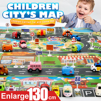 New 130*100CM Enlarge Car Toy Waterproof Playmat Simulation Toys City Road Map Parking Lot Playing Mat Portable Floor Games image