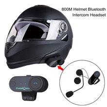 2pcs 800M Intercom Headset Wireless Interphone Bluetooth Motorbike Helmet Headset