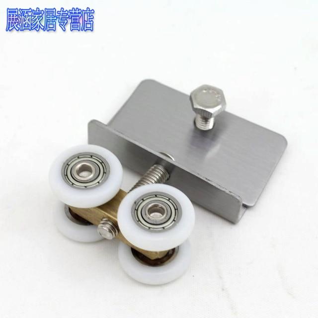 4pcs Shower room parts small glass door sliding door pulley four ...