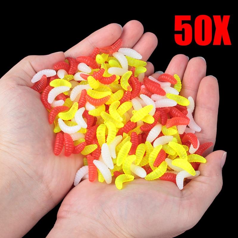 New 50PCS 2.2cm Maggot Grub Soft Lure Baits Worms Glow Shrimps Fishing Lures US