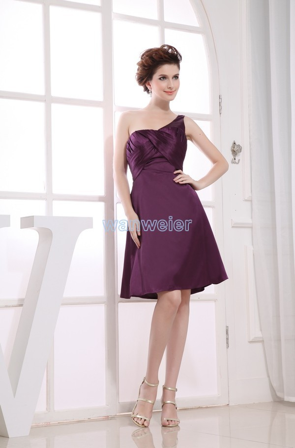 Free Shipping 2016 Beyonce One Shoulder New Hot Brides Maid Gown Custom Size/color Short Purple Strap Sexy Bridesmaid Dresses
