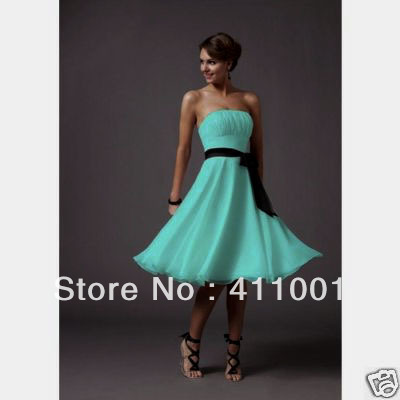 XS-2XL 3XL 2015 Classic Style HERBBLUE A-line Knee-Length Chiffon Bridesmaid Dresses Bridal Gowns Party Dress in Stock All Sizes