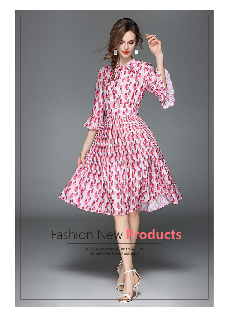 Woman Horn Sleeve Printed Pink Summer Dress Womens Dresses New Arrival 2018 Midi Beach Party Dress Dames Kleding K6012 8