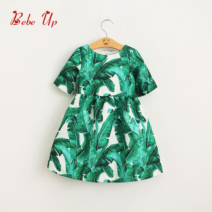 Girls Floral Dress Spring 2018 A-line Dresses Girl Short Sleeve Designer Children Leaves Print Clothes Toddler Kids Clothing