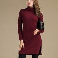 100% козья кашемир Женская мода Водолазка длинный пуловер свитер платье открытым низом красное вино серый S 4XL