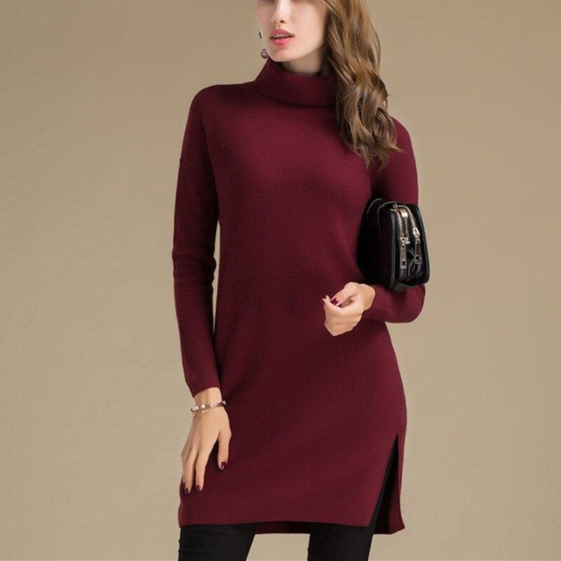100%goat cashmere women's fashion turtleneck long pullover sweater dress open hem wine red grey S 4XL